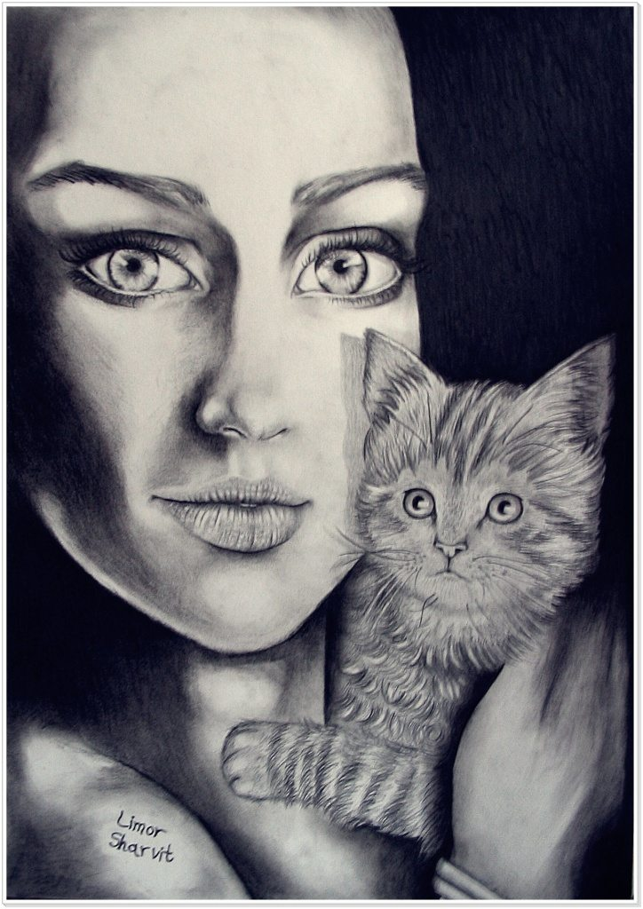 Drawings and paintings - Cat woman drawing