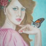 Art: Portraits, drawings, paintings - Lady butterfly & flowers painting