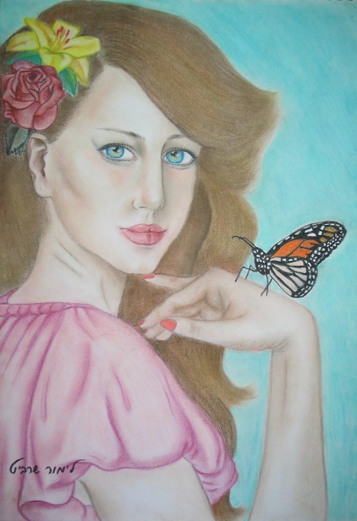 Drawings and paintings - Lady butterfly & flowers painting