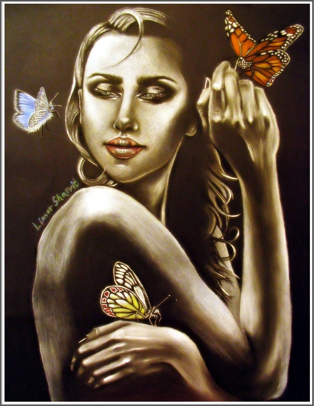 Butterfly girl painting - ציור אשת הפרפר